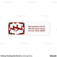 Holiday Dashing Red Bucks Return Address Label