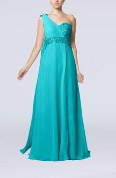 Elegant Prom Dresses, Evening Dresses, Formal Dresses, One Shoulder Prom Dress, Backless, Chiffon, Teal, Sequins, Embellishments