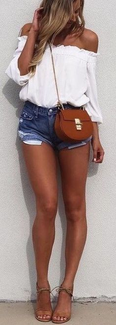 #summer #outfits / crop top + denim short shorts