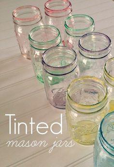 DIY | a rainbow of pastel-tinted mason jars
