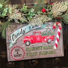 """New Retro Christmas VINTAGE RED TRUCK CANDY CANE TREE FARM SIGN Hanging 17"""" #Unbranded #Primitive Fresh Christmas Trees, Christmas Tree Farm, Primitive Christmas, Retro Christmas, Christmas Ornaments, Farm Signs, Wood Signs, Vintage Red Truck, Peppermint Candy Cane"""