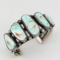 Great Navajo VERDY JAKE Sterling Silver  Dry Creek Turquoise Cuff Bracelet |G