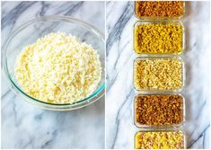 This post will show you how to create Cauliflower Rice 5 Ways - there are Mexican, Hawaiian, Greek, Indian and Asian flavours for this low carb side dish! Best Cauliflower Rice Recipe, Ways To Cook Cauliflower, Indian Cauliflower, Healthy Recepies, Healthy Meals To Cook, Healthy Food, Low Carb Side Dishes, Frozen Vegetables