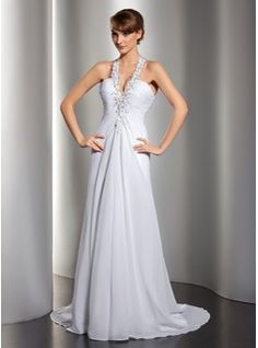 A-Line/Princess Halter Sweep Train Chiffon Wedding Dress With Ruffle Lace Beadwork Sequins (002012134) - JJsHouse
