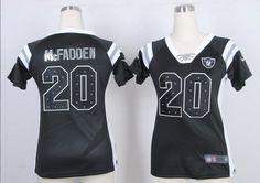 2013 Women Nike Oakland Raiders #20 Darren McFadden Black Fashion Rhinestone Sequins Jerseys