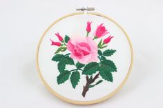 embroidery hoop picture  hoop art  hand embroidered wall hanging flowers big Rose wall decor hoop art