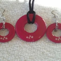 @KyDanJenjewelry Bright pink #wearableindustrialart necklace & earring set with white stars. Hand painted. Length is 24in on black cord. from KyDanJenjewelry for $25.00 on Square Market