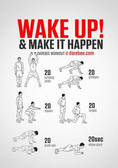 Wake Up Workout - Start the day with a bang with a workout that'll get your pulse going and get your energy levels up. Wake Up Workout, Home Workout Men, Workout Routine For Men, Gym Workout Tips, Workout For Beginners, Workout Challenge, Free Workout, Workout Plans, Weekly Gym Workouts