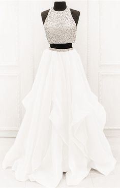 Chic Organza Ruffles Two Piece Prom Dresses With Sequins And Beads white prom dresses two piece ball gowns with sequin and beaded 2019 new arrivals Prom Dresses Two Piece, Prom Dresses For Teens, Prom Outfits, Hoco Dresses, Beautiful Prom Dresses, Quinceanera Dresses, Ball Dresses, Ball Gowns, Evening Dresses