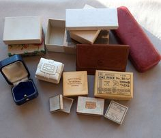 Lot of 14 Vintage and Antique Jewelry Boxes Leather Pouch Plus...