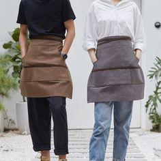 Brown Gray Canvas Waist Apron Cotton Leather Strap - Little Tailor Studio Cafe Uniform, Waiter Uniform, Artist Work, Painter Artist, Bartender Uniform, Restaurant Uniforms, Shop Apron, Staff Uniforms, Waist Apron