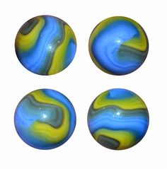 """Akro Agate tight line, prize name corkscrew. Known as a """"Cub Scout"""", this corkscrew has detailed bands of blue, yellow and grey. This image shows 4 different views of the same marble. It is a larger one, measuring 11/16""""."""