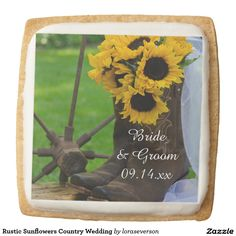 Rustic Sunflowers Country Wedding Square Shortbread Cookie
