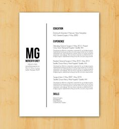 Resume Writing Service: Custom Resume Writing & Design - Minimalist, Modern Design - The Meredith Grey
