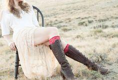 Red Boot Cuffs Lace Socks Topper Women Faux Leg by ForgottenCotton