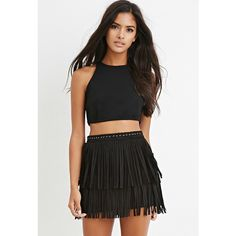 Forever 21 Women's  Fringed Faux Suede Mini Skirt ($25) ❤ liked on Polyvore featuring skirts, mini skirts, short skirts, forever 21 mini skirt, forever 21, fringe skirt and mini skirt