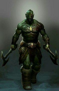 m Half Orc Barbarian Duel Axe wilderness rough desert
