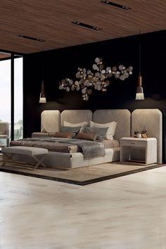 Luxurious bedrooms - Luxury Italian Bed With Wide Nubuck Leather Headboard Luxury Bedroom Design, Master Bedroom Design, Interior Design, Master Suite, Luxury Kids Bedroom, Master Master, Trendy Bedroom, Luxury Interior, Room Interior