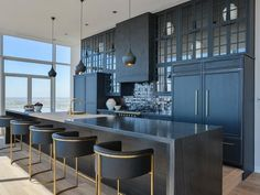 Black and Gold Kitchen Decor New Contemporary Black Kitchen Design Contemporary Kitchen Home Decor Kitchen, New Kitchen, Kitchen Island, Island Stools, Gold Kitchen, Island Bar, Kitchen Ideas, Kitchen Cabinets, Black Cabinets
