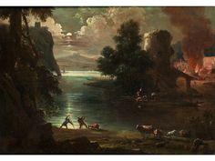 LANDSCHAFT MIT FIGUREN UND EINEM BRAND IM HINTERGRUND Öl auf Leinwand. 63 x 88 cm. Dem Gemälde ist eine Expertise von Prof. Dario Succi beigegeben. Dieses...