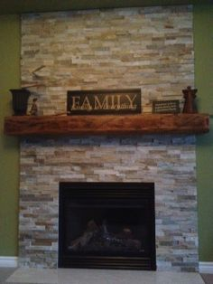 Stone Fireplace With Wrap Around Barn Beam Mantel House