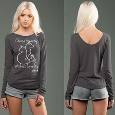 "Stone eco-HYBRID™ Slub Micro Jersey Long Sleeve ""Choose Beauty Without Cruelty""  by FTLA Apparel"