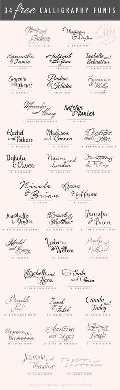 Amazing modern calligraphy fonts: here are 34 FREE calligraphic script fonts for hand-lettered, flowing wedding stationery! All the fonts listed below are absolutely free for personal use (some are free for commercial use, too – check the license! Wedding Invitation Fonts, Wedding Stationery, Calligraphy Invitations, Wedding Calligraphy Fonts, Wedding Fonts Free, Free Wedding, Invitation Cards, Wedding Script Font, Trendy Wedding