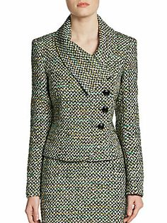 Lafayette 148 New York Asymmetrical Tweed Jacket