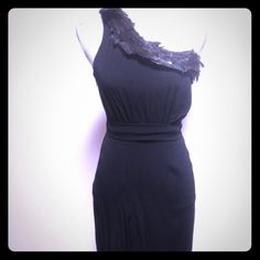 Gorgeous!! NWT 360! BLACK HALO One Shoulder Dress Stunning dress by Black Halo!! One shoulder styling, a tailored cut and unique, multi-colored feather embellishment  across the top seam of the dress. Tags attached- selling for 360.00! Black Halo Dresses One Shoulder