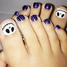 """""""skeleton on toe nails Awesome Halloween Toe Nail Art Designs For Horror Junkies!""""--Christmas toe nail art for Tim Burton fans Simple Toe Nails, Pretty Toe Nails, Cute Toe Nails, Pretty Toes, Toe Nail Art, My Nails, Striping Tape Nail Art, Halloween Toe Nails, Halloween Makeup"""