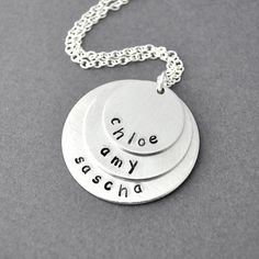 Mother Necklace Personalized birth stone necklace mommy necklace 3 kids name three kids children...y couldnt it just be two circles lol