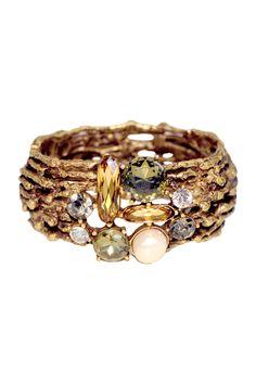 Shop for Jeweled Champagne Branch Cuff by Oscar de la Renta at ShopStyle. Gems Jewelry, Jewelry Box, Jewelry Accessories, Jewelry Design, Jewlery, Costume Jewelry, Bangles, Bracelets, Necklaces