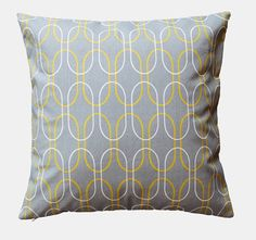 Gray & Yellow Pillow Cover  18 x 18 Decorative by TheLinenHouse, $20.00http://pinterest.com/all/#
