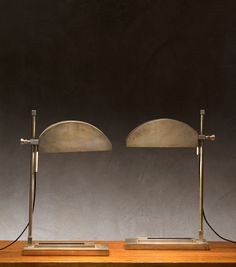 Marcel Breuer: nickel plated brass lamps made for the Paris Exposition Internationale des Arts Décoratifs et Industriels Modernes in 1925 Limited edition of 100