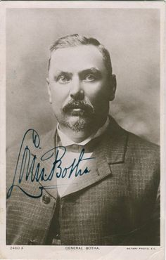BOTHA LOUIS: (1862-1919) Prime Minister of the Union of South Africa 1910-19. Vintage signed postcard photograph of Botha in a head and shoulders pose intensely looking directly towards the camera. Signed ('Louis Botha') in bold, dark fountain pen ink with his name alone across a clear area of the image.