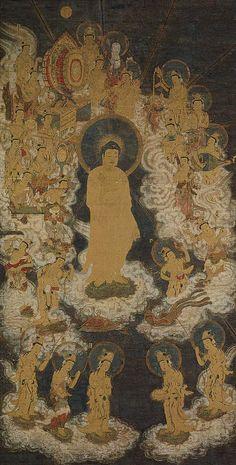 Unidentified artist. Welcoming Descent of Amida and Twenty-five Bodhisattvas [Japan] (42.25.37) | Heilbrunn Timeline of Art History | The Metropolitan Museum of Art
