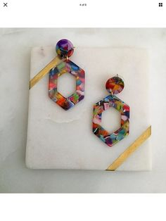 Excited to share this item from my #etsy shop: Multi Coloured Hexagon Resin Acetate Fashion Statement Dangle Earrings- Lightweight - Handmade - Hoop Earrings - Colourful Earrings Earrings Handmade, Dangle Earrings, Dangles, Etsy, Drop Earrings