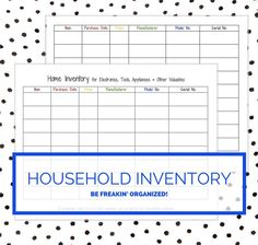 printable home and household inventory for electronics appliances tools and other valuables instant download by streamlinedliving on etsy