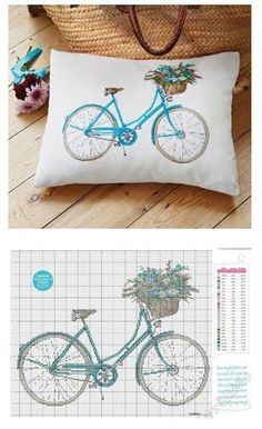 Cross Stick project for a pillow. Love the retro bicycle.