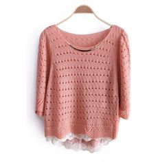 Autumn Women Cute Sweet Scoop Mid Sleeve Sequin-Detailed Knitting Pink... ($16) via Polyvore