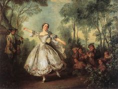 Mademoiselle de Camargo Dancing (1730). Nicolas Lancret (French, 1690-1743). Oil on canvas. The Wallace Collection. Marie Anne de Cupis de Camargo was the first great virtuoso ballerina of the Paris Opera. Lancret depicts theatrical veracity through details such as the dress and ballet position à demi-pointe. The scene is set in the sylvan park landscape of a fête galante. This setting lends the subject a poetic quality, which evokes the ephemeral charm of Mademoiselle de Camargo's talent.