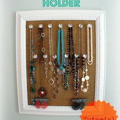 Burlap Jewelry Holder with Crystal Knobs