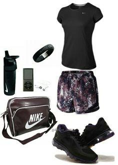 Women's fashion black nike gym outfit