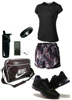 Women's fashion black nike gym outfit