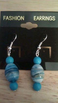 Blue Swirled Earrings