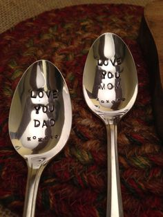 Mother's Day and Father's Day Gift, Vintage Silver Spoons, Anniversary Gift, Mom and Dad Gift, Stamped Vintage Spoons, Engraved $30