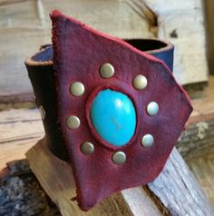 Leather Cuff-Turquoise/Reconstituted Stone by LeatherVision