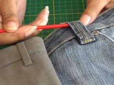 Making and Sewing Fabric Belt Loops.  A FREE article, guide and fashion sewing video tutorial, only at http://www.fashionsewingblog.com