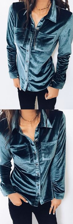 $34.99 Chicnico Boho Chest Pocket Blue Long Sleeve Blouseall fashion trend shop online store travel causal outifit