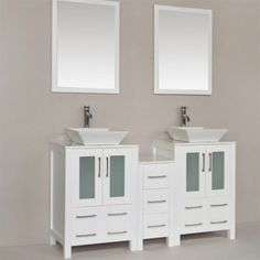 This beautiful all white vanity for two offers a mixed look of classic and contemporary with its all white finish along with two ceramic basins that sit atop stunning white counter tops. Keep your luxury bathroom easily organized with its multiple drawers for storage. Its matching mirrors compliment the grand vanity and are sure to open up any sized bathroom. Luxury Bathroom Vanities, Single Sink Bathroom Vanity, Bathroom Vanity Cabinets, White Counters, Double Vanity, Countertops, Basins, Contemporary, Storage